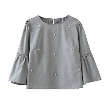 UGREVZ Womens Bell Sleeve Beading Casual Blouse Top Short Style