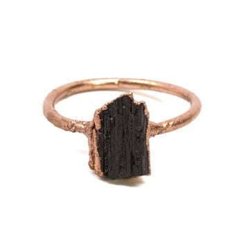 Black Tourmaline Crystal Ring
