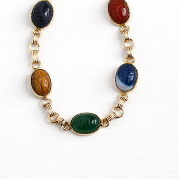 Vintage 12k Yellow Gold Filled Scarab Bracelet - Retro 1950s Carved Beetle Tiger's Eye Chalcedony Carnelian Egyptian Revival Admark Jewelry