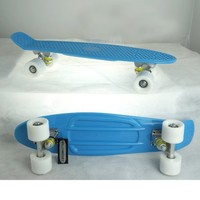 Plastic Complete Skateboard Complete Blue Deck Penny Size Stereo-Sonic Tail with expedited Shipping (white wheels, 27 Inches)