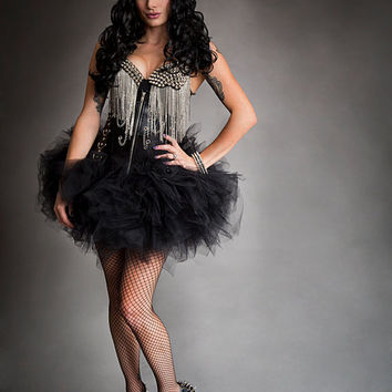 Custom Size Punk Rock Black and silver spike chain and tulle 2 piece set burlesque prom halloween dress S-XL