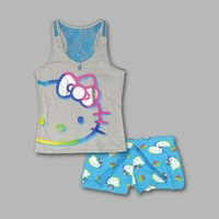 Hello Kitty- -Junior's  2 Pc Rainbow Heart Hello Kitty Tank & Shorts Pajama Set-Clothing-Juniors-Intimates