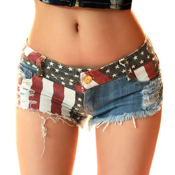 Newest 1PC Sexy Women Shorts American US Flag Printed Mini Jeans Hot Pants Denim Low Waist Tassel Hole Lady Short Pants