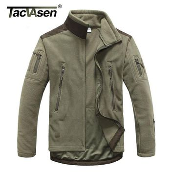 TACVASEN Tactical Military Fleece Jacket Men Thermal Shark Skin Patch Camp Hunt Jackets Warm Army Clothes