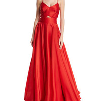 Milly Sleeveless Crisscross-Bodice Organza Ball Gown