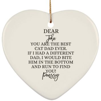 Funny Father's Day Gift For Dad From Wife, Daughter, Son, Stepdaughter, Stepson, Mom, Grandma, Mother In Law (SUBORNH Ceramic Heart Ornament)