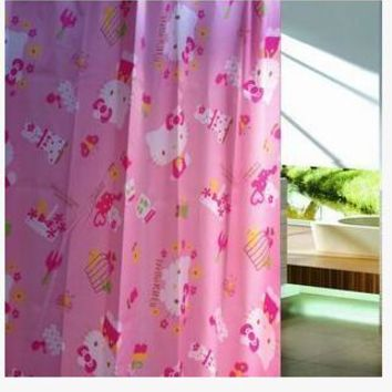 With 8~10 Pcs Hook Beautiful 180*180 CM Hello Kitty Cartoon Waterproof PEVA Shower Curtain For The Bathroom