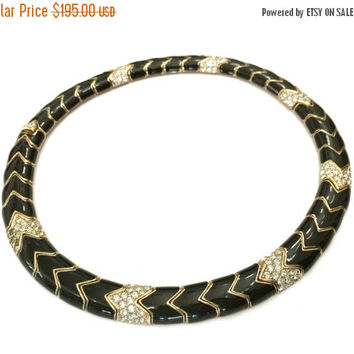 Big Holiday Sale Ciner Black Enamel Collar Necklace, Black Enamel, Pave Ice Crystals, Gold Tone Metal, Chevron Links,