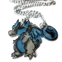 Charizard X Pokemon Necklace with Charizardite, Hand Drawn and Colored on Shrink Plastic, Custom Chain Length, Glitter Coating Option