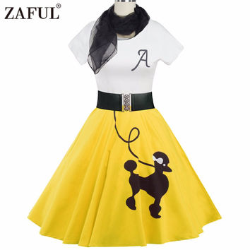 ZAFUL 5 color Women Vintage Dress Animal Print Retro robe 50s Short Sleeves Belts elegant Feminino Rockabilly Dresses Vestidos