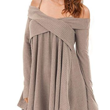 Cold Shoulder Criss Cross Tunic Sweater