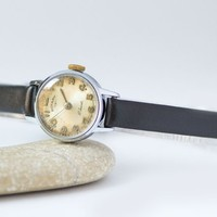 Vintage watch for lady Rotary, women wristwatch classic, retro woman timepiece, Swiss movement watch for girl preppy watch leather strap new