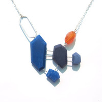 Cobalt blue statement necklace, sterling silver geometric necklace, genuine carnelian gemstone, orange gemstone, contemporary blue jewelry