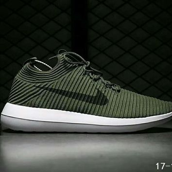 32f48d73b65e Nike Roshe Two Flyknit V2 Fashion Women Men Running Sport Casual Shoes  Sneakers Army green I
