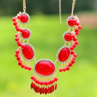 Dazzling Dame Necklace in Red