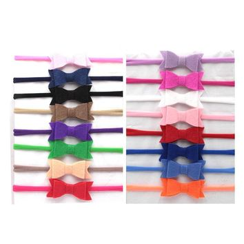 Nylon Headband Baby Girls Elastic Hairband Felt Hair Bows Children Toddler Solid Kids Head band Hair Accessories Cute 15Pcs/Lot