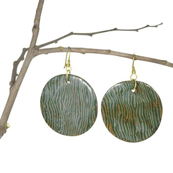Handmade; LARGE Round Nerikomi Earrings; Vertical Waves: GREEN