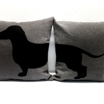 Dachshund (sausage dog) cushion covers - grey and black - Made to Order