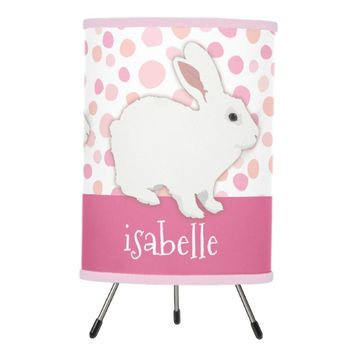 Girly Pink Polka Dots Bunny Personalized Tripod Lamp