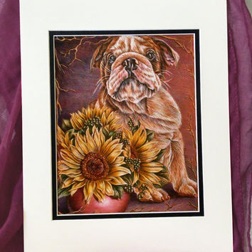 Bulldog with Sunflowers pet portrait, original pencil drawing, dog, animal, pet mom, drawing, handmade wall art gift, purple, brown, yellow