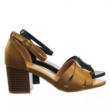 Premium84 Vintage Chunky Block Stack Heel Open Toe Dress Sandal