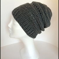 Charcoal winter beanie, Slouchy hat, Men winter hat, Women slouchy hat, Charcoal winter hat, Winter slouch beanie, Gray beanie hat, Grey hat