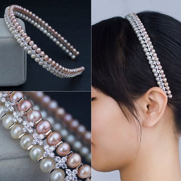Pearls 925 Silver Double-layered Stylish Accessory Hairband [4914837764]