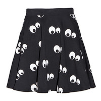 Black Googly Eyes Print Pleated Mini Skirt
