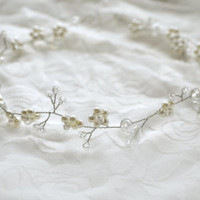 Wedding Hair Vine, Bridal Headpiece, Wedding Crystal &Pearl Halo, Bohemian Wreath, Silver Veil Accessory, Hair Adornments, Gloss Hair Piece