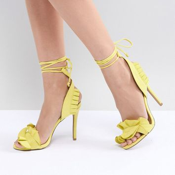 QUPID Ruffle Heeled Sandals at asos.com