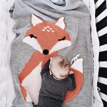 Puseky Baby Blanket Newborn 2018 Fox Knitting Blanket Bedding Quilt For Bed Sofa Wool blanket newborn photography props 110*70CM