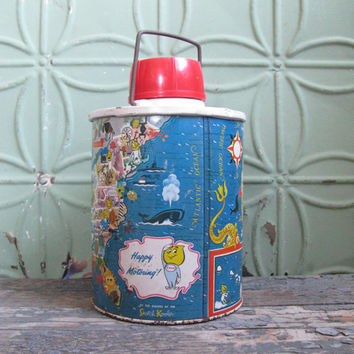 Vintage Esso Thermos, Happy Motoring Skotch Kooler, Petroleum Advertising, 1960s Petroliana, Gas Station Collectible