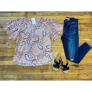 Positively Paisley Top in Coral