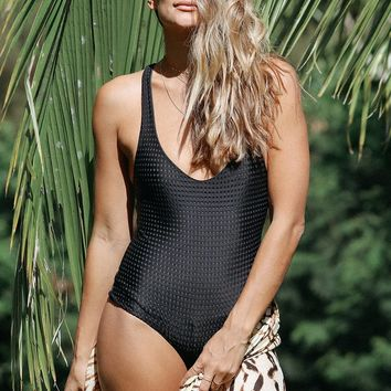 ACACIA Swimwear 2018 Sparta One Piece in Black Beauty Mesh