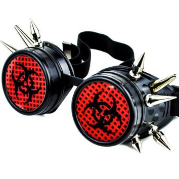 Bio Hazard Industrial Spike Goggles Cosplay Cyber Glasses