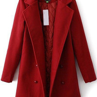 Lapel Double Breasted Woolen Coat