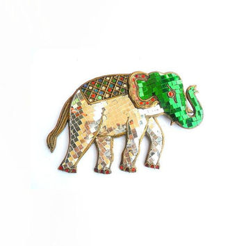 "Mosaic Elephant Glass Art Multicolor Handmade Mirror Mosaics Art Home Decor Handcrafted Hand Wood Carved  Gift 10.5""x7"""