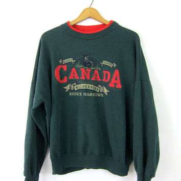 Green Canada Sweatsirt Oversized Canadian Sweater Sioux Narrown Rugged Country Travel Souvenir Novelty Baggy Thin Unisex Coed Size Medium