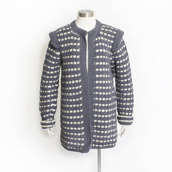 Vintage 1980s Sweater - Wool Knit Blue Grey + Ivory Striped Chunky Hand Knit Irish Cardigan - Small