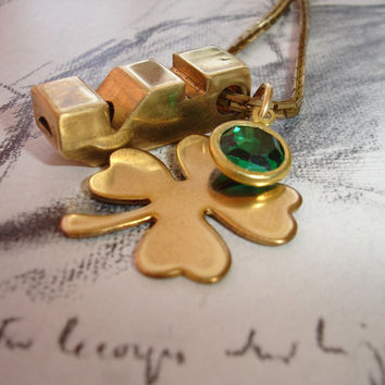 Whistle Me Luck - Vintage Brass Whistle, Vintage Emerald Green Swarovski Charm, Raw Brass Four Leaf Clover, Irish, Lucky Charm