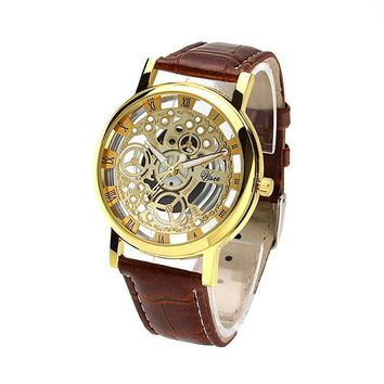 Hot 2016 man and women no mechanical watch hollow couple quartz sports watches belt students watches  leather strap wristwatch