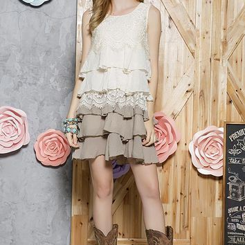 Tiered Ruffle Lace Tunic Dress - Beige/Mocha