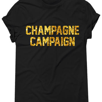 GOLD GLITZ PRINT! Champagne Campaign, Graphic Tee, Unisex T-Shirt