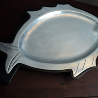 vintage huge black warmer aluminum fish by valeriesvintagehome