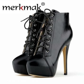 Merkmak 2016 Autumn Winter Stylish Women Boots Party  High Heel 14cm Plus Size Bottes Femmes Lace Up Leather Ankle Women Boots
