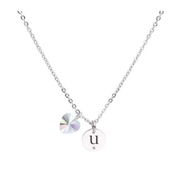 Dainty Initial Necklace made with Crystals from Swarovski  - U