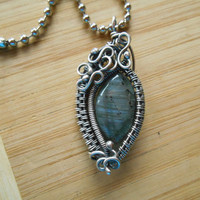 Sterling Silver Labradorite Wire Wrapped Weave Pendant