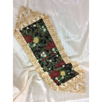 Poinsettias and Mums Reversible Table Runner