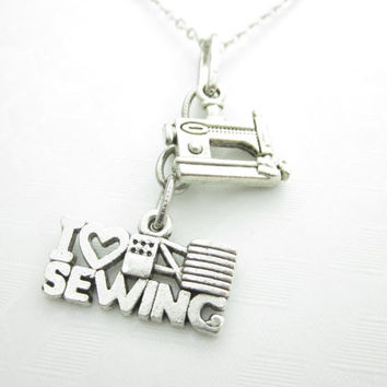 I Love Sewing Necklace, Sewing Machine Charm Necklace, Crafter Charm, Seamstress Necklace, Silver Sewing Machine Charm, Arts and Crafts X026