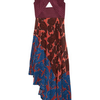 Stella McCartney - Caroline asymmetric printed silk and crepe dress